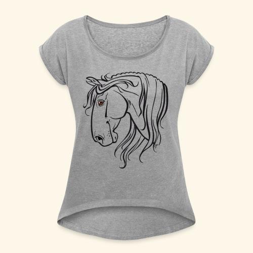 Cheval espagnol (noir) - T-shirt à manches retroussées Femme