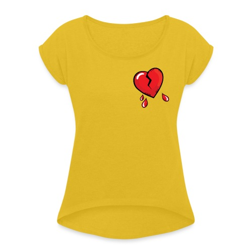 Broken Heart - Women's T-Shirt with rolled up sleeves