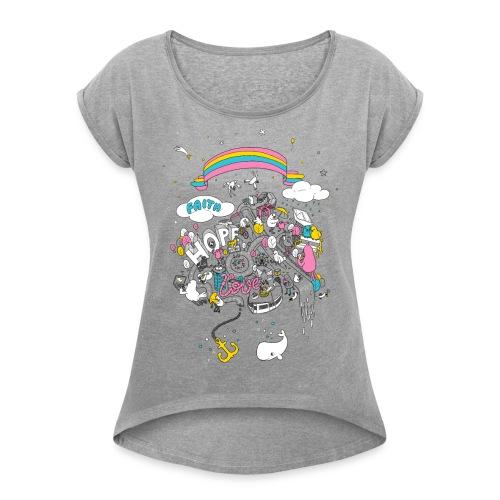 FHL Wimmelshirt VAR1 3000 - Frauen T-Shirt mit gerollten Ärmeln