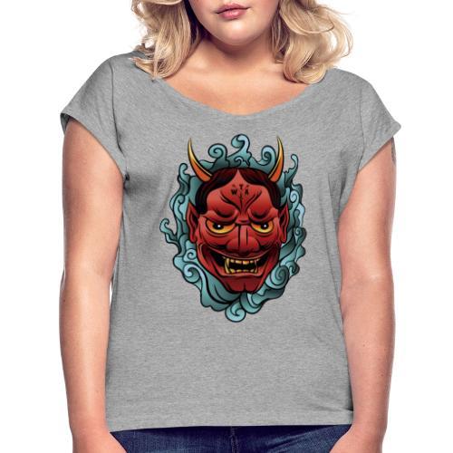hannya mask - Camiseta con manga enrollada mujer