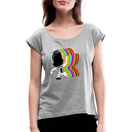 Spaceman - Frauen T-Shirt mit gerollten Ärmeln