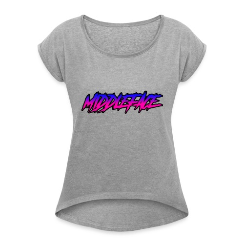 Middleface Logo - Blue and Pink - Women's T-Shirt with rolled up sleeves