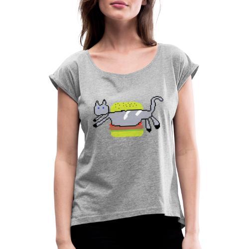 cat hamburger - T-shirt med upprullade ärmar dam