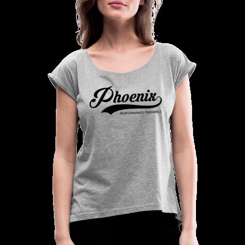 Phoenix Retro Black - Frauen T-Shirt mit gerollten Ärmeln