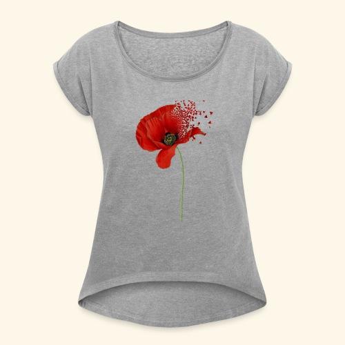 Klaproos - Vrouwen T-shirt met opgerolde mouwen