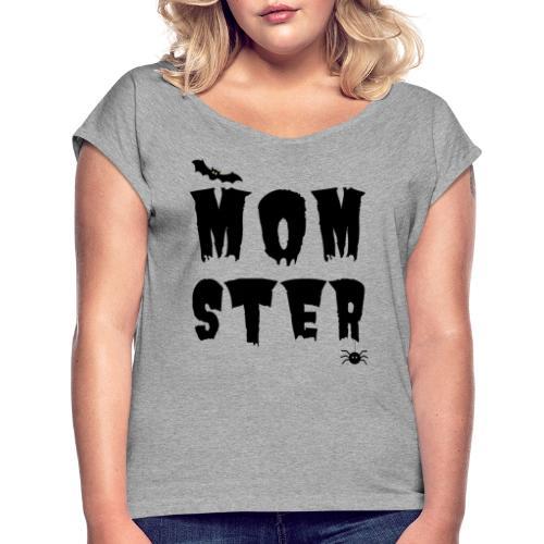 Momster - T-skjorte med rulleermer for kvinner
