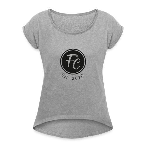 California Logo Schwarz - Frauen T-Shirt mit gerollten Ärmeln