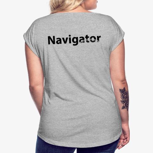 Navigator VIO combinatie zwart - Vrouwen T-shirt met opgerolde mouwen