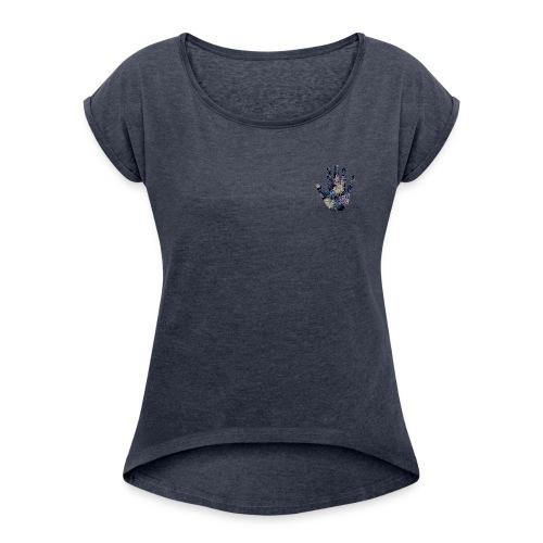 Exotic Flower Hand - Dame T-shirt med rulleærmer