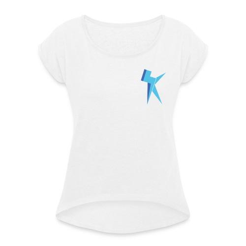 K Vlogs Logo - Vrouwen T-shirt met opgerolde mouwen