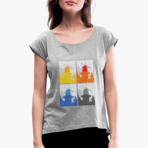 Mills - Maglietta da donna con risvolti