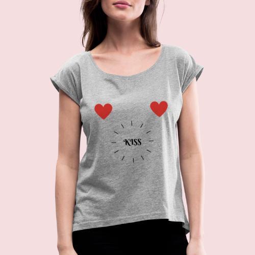 Herz Tour - Frauen T-Shirt mit gerollten Ärmeln