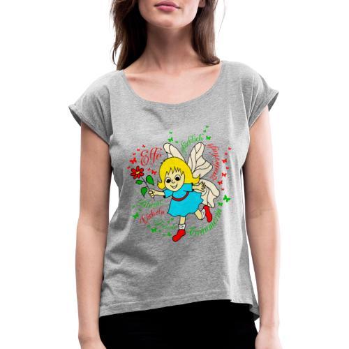 Elfe Traeumer in Rot - Frauen T-Shirt mit gerollten Ärmeln