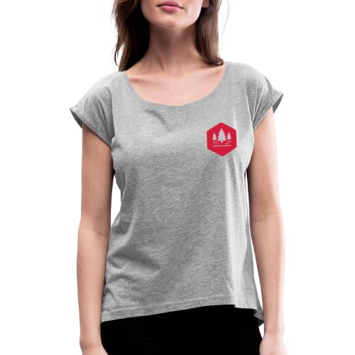 Overlandix Logo - Frauen T-Shirt mit gerollten Ärmeln