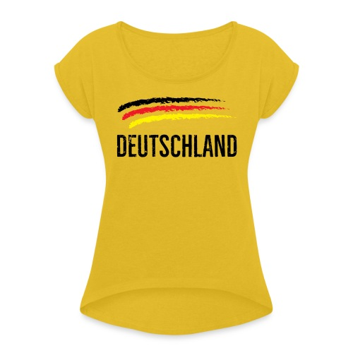 Deutschland, Flag of Germany - Women's T-Shirt with rolled up sleeves