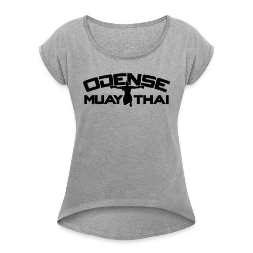 OMT LOGO2012 SORT 08 08 2 2 - Dame T-shirt med rulleærmer