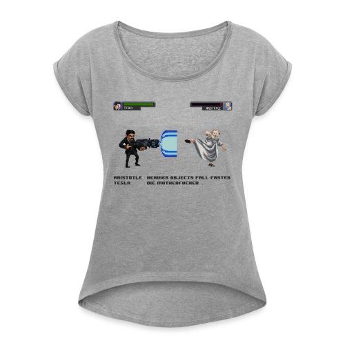 Aristotle vs Tesla - T-shirt à manches retroussées Femme