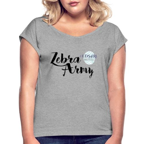 Zebra Army (black) - Women's T-Shirt with rolled up sleeves