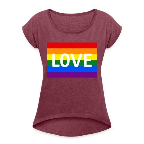 LOVE RETRO T-SHIRT - Dame T-shirt med rulleærmer