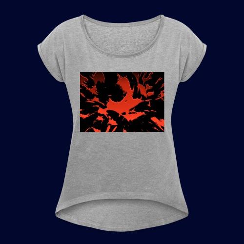 crazy red - Frauen T-Shirt mit gerollten Ärmeln