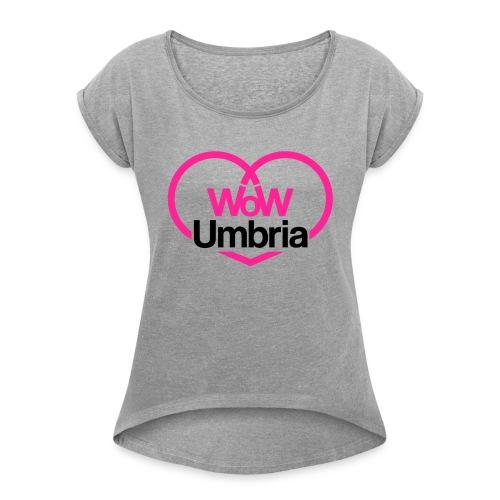 wow umbria nero fuxia - Maglietta da donna con risvolti