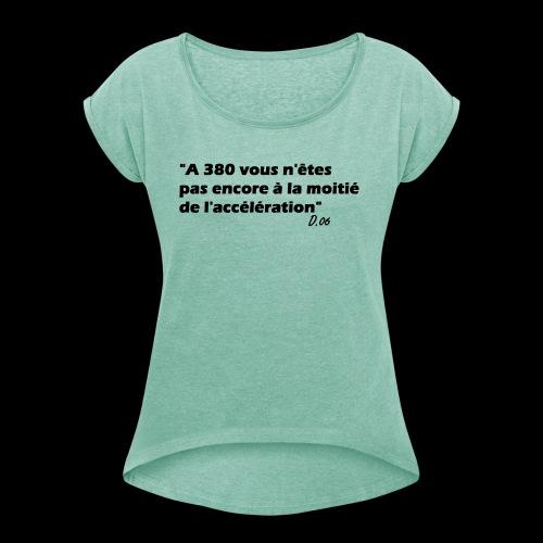380 noir - T-shirt à manches retroussées Femme