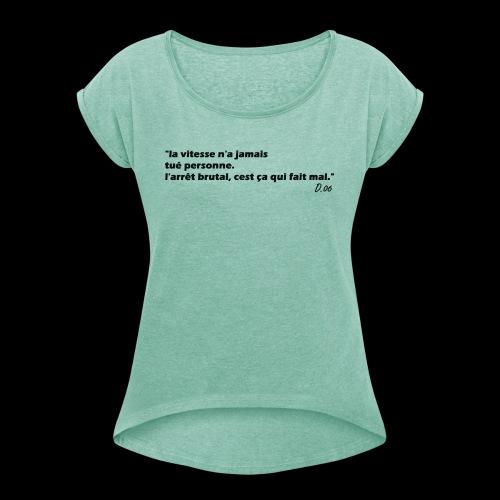vitesse (noir) - T-shirt à manches retroussées Femme