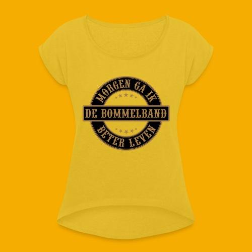 bb logo rond shirt - Vrouwen T-shirt met opgerolde mouwen