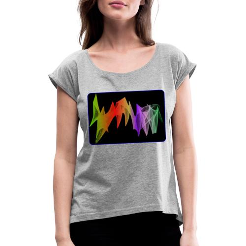 interpolierte zwei herzfrequenz - Frauen T-Shirt mit gerollten Ärmeln