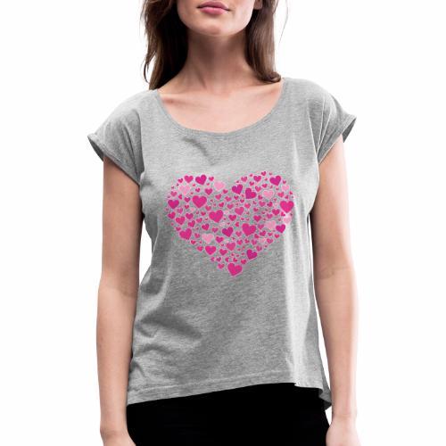 Herz aus Herzal - Frauen T-Shirt mit gerollten Ärmeln