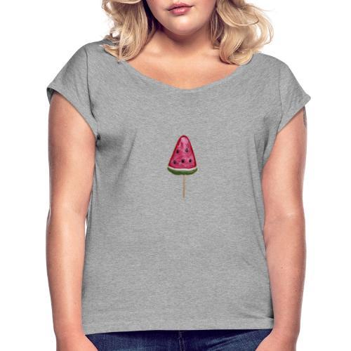 Melonen-Schlecker Motiv - Frauen T-Shirt mit gerollten Ärmeln