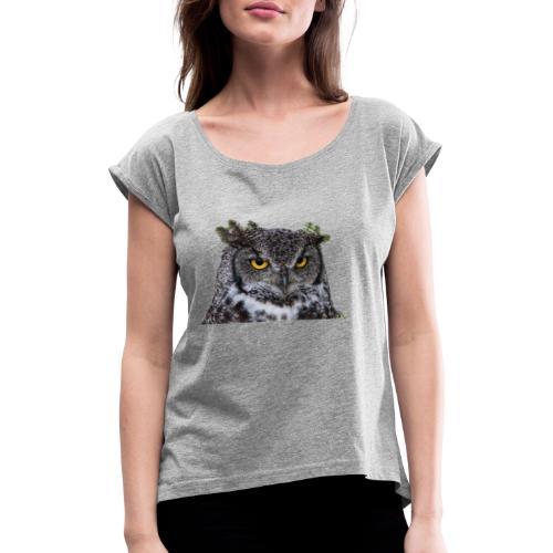 I was Born like this Eule - Frauen T-Shirt mit gerollten Ärmeln