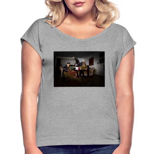 FOTTO - T-shirt med upprullade ärmar dam