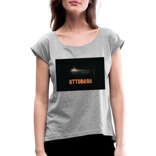 svart granit polerad - T-shirt med upprullade ärmar dam