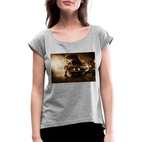 US Cars und Pinup-Girl Part II - Frauen T-Shirt mit gerollten Ärmeln