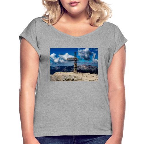 Gipfelkreuz - Frauen T-Shirt mit gerollten Ärmeln