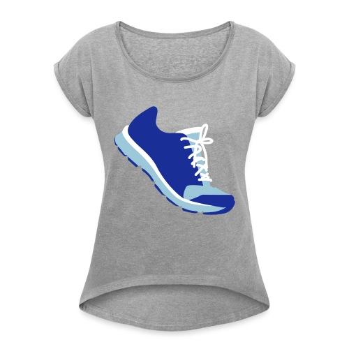 Laufschuh - Frauen T-Shirt mit gerollten Ärmeln