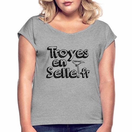 logo Troyes en Selle noir - T-shirt à manches retroussées Femme