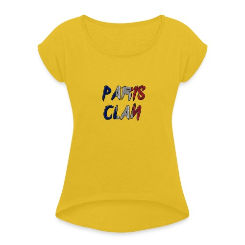 Parisclan Lettering - Women's T-Shirt with rolled up sleeves