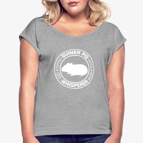 Marsewhisperer White - Naisten T-paita, jossa rullatut hihat