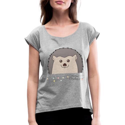 Hed wünscht Merry Christmas - Frauen T-Shirt mit gerollten Ärmeln