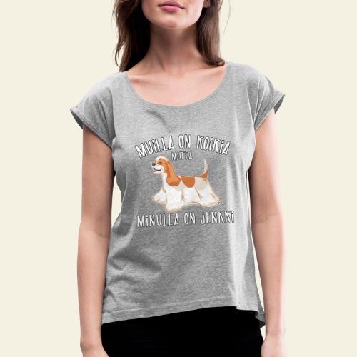 Jenkki Koiria - Naisten T-paita, jossa rullatut hihat
