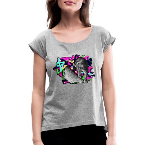 Leopard auf Bunt - Frauen T-Shirt mit gerollten Ärmeln