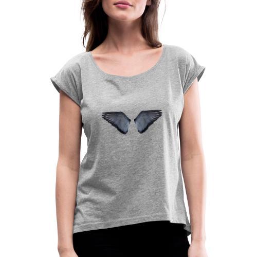 Blaue Flügel Slat - Frauen T-Shirt mit gerollten Ärmeln