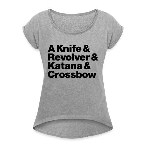Zombie Weapons - Frauen T-Shirt mit gerollten Ärmeln