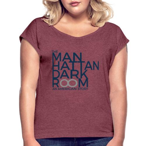 THE MANHATTAN DARKROOM BLEU GRIS - T-shirt à manches retroussées Femme