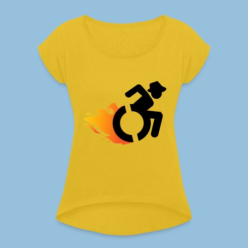 Roller met vlammen 016 - Vrouwen T-shirt met opgerolde mouwen