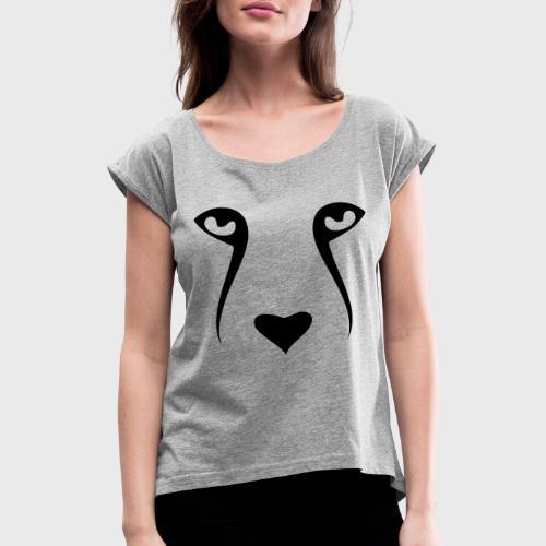 Tête de chien - T-shirt à manches retroussées Femme