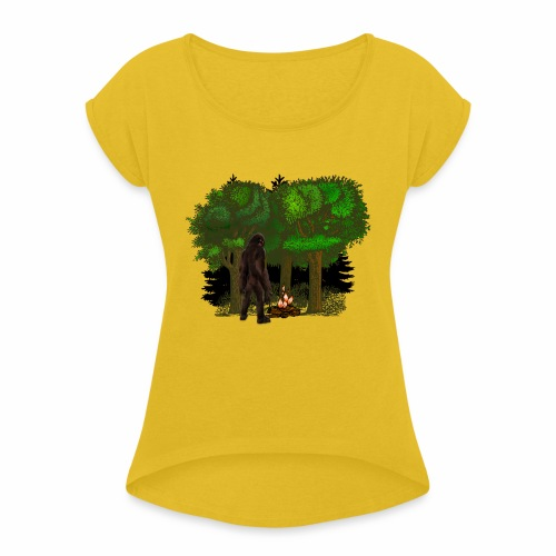 Bigfoot Campfire Forest - Women's T-Shirt with rolled up sleeves
