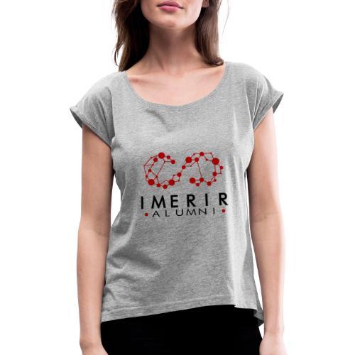 logo transparent vertical - T-shirt à manches retroussées Femme